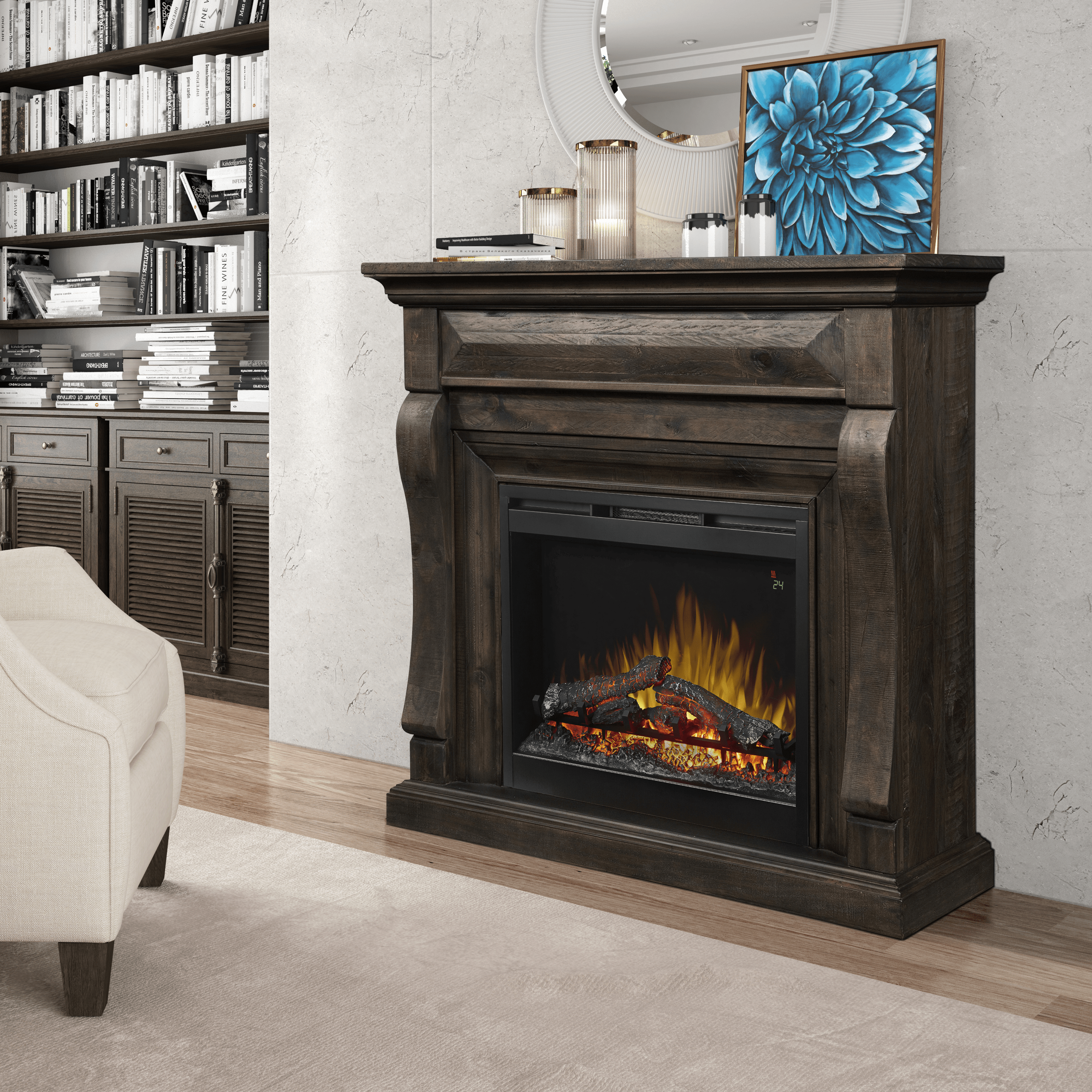 electric firebox fireplaces stand tv decor the modena log with fireplace furniture white search home accent brick