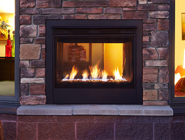 Twilight Modern Heatilator Gas Outdoor Fireplaces with brick face