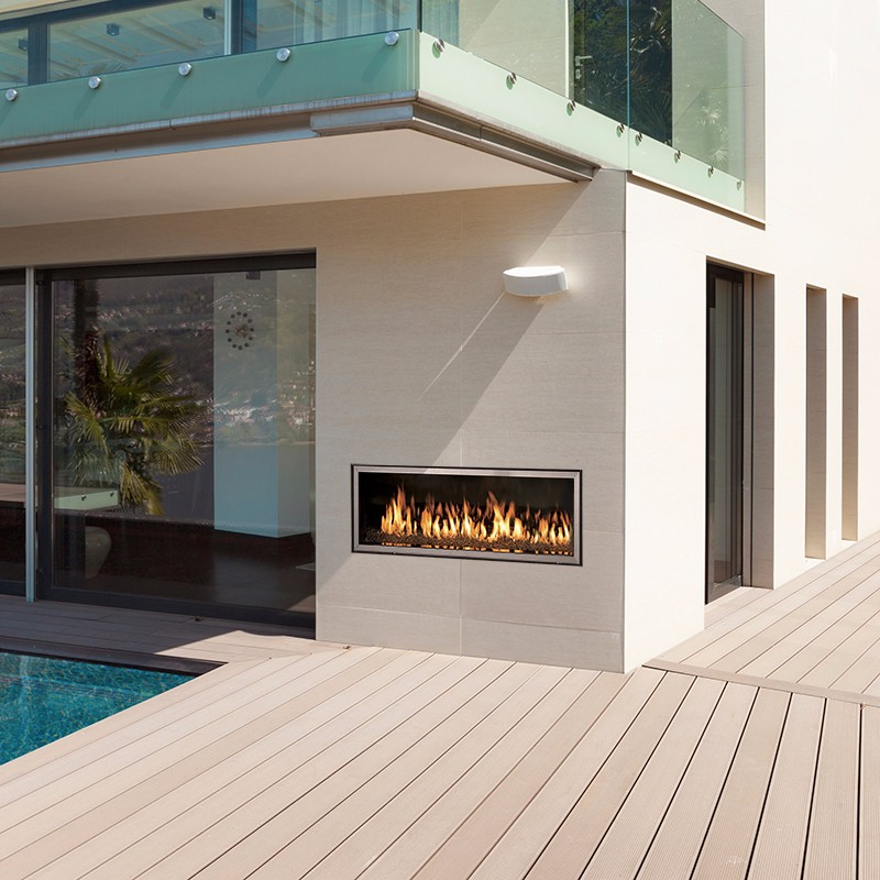 WS54 outdoor gas fireplace on a modern patio