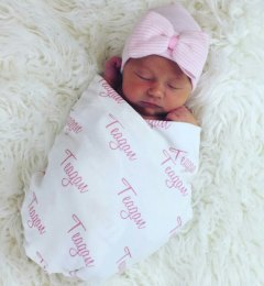 Personalized Swaddle Blanket Newborn Hospital Hat personalized baby gift