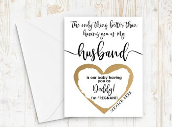 Pregnancy Announcement to Husband - Pregnancy Scratch Off Card - Daddy to Be - New Daddy