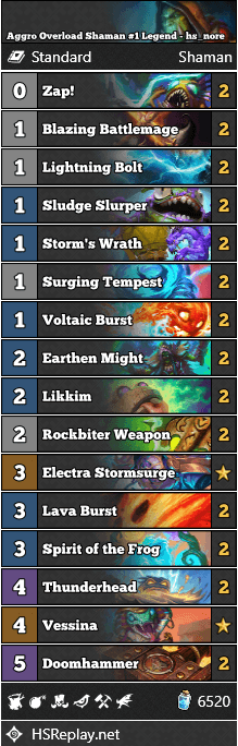 Aggro Overload Shaman #1 Legend - hs_nore