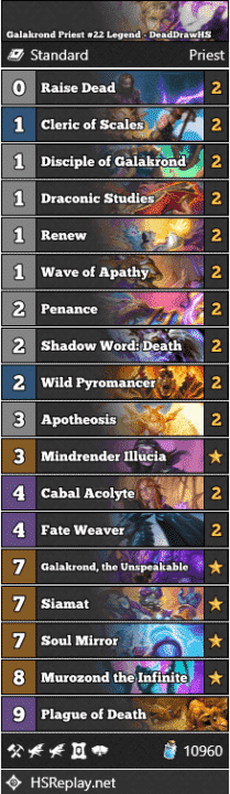 Galakrond Priest #22 Legend - DeadDrawHS
