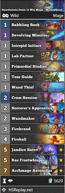 Hearthstone Duels 11 Win Mage - WickedGood