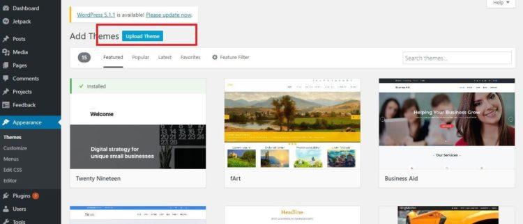 WordPress Settings - Upload Theme