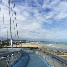 The iconic bike and pedestrian bridge over the Pescara River.