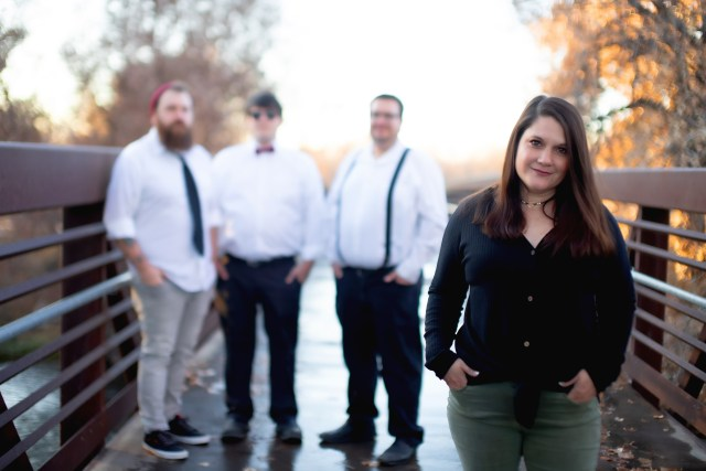 Amy and the rest of the Heart Medicine Band, with the focus on Amy.