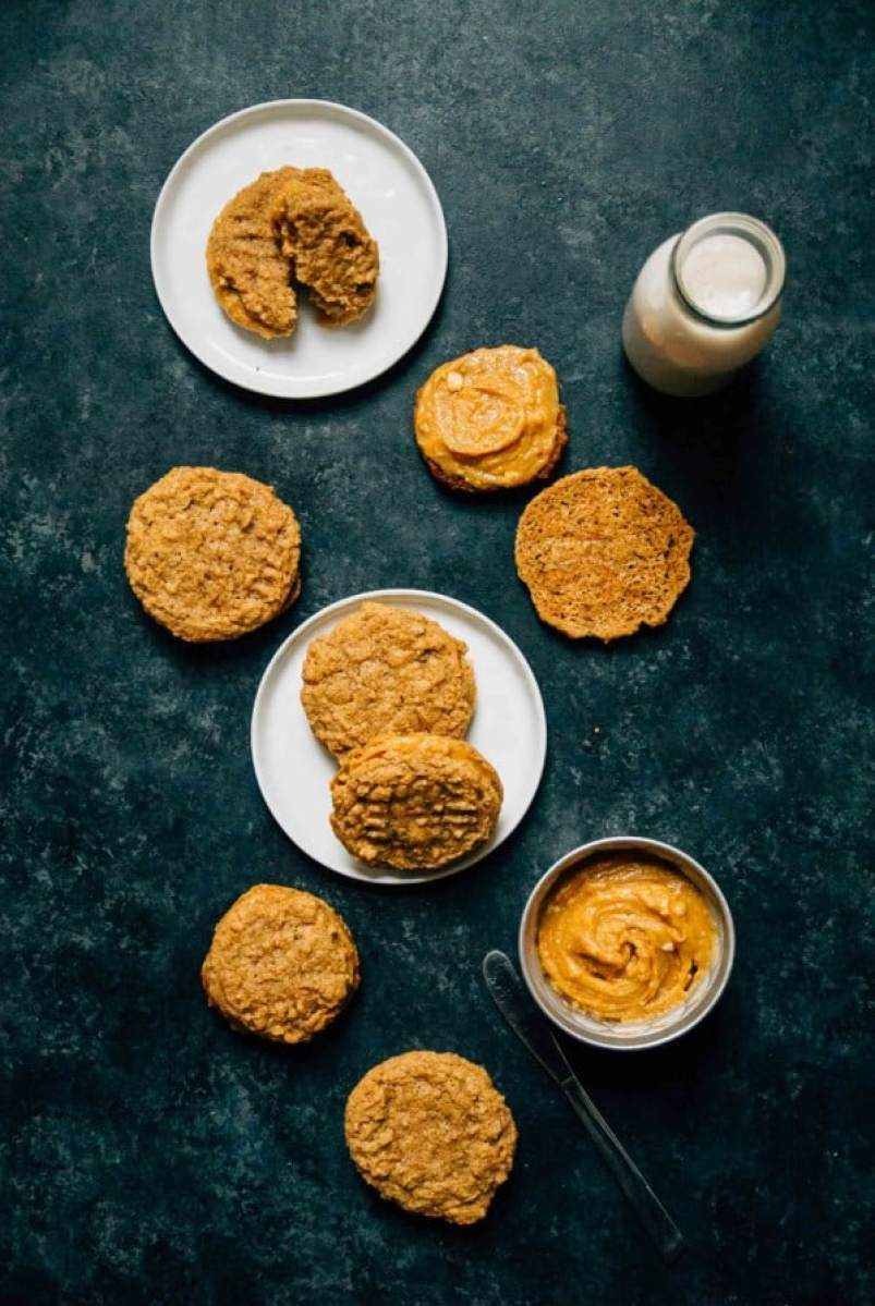 Vegan Nutter Butters- A homemade version of a childhood favorite, crisp nutter butter cookies with a sweet peanut butter filling!