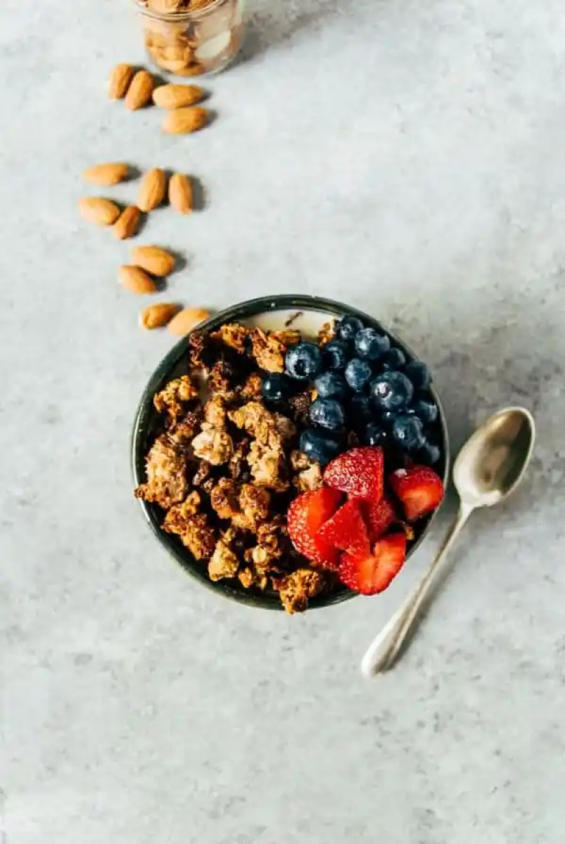 Almond pulp granola is the perfect way to use up your leftover almonds after making almond milk! With a touch of oats and just enough sweetness.
