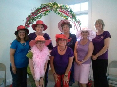 Beautiful Divas, r to l, guest, back row: Sharon Wright Kittrell, Loretta Highfield, , front row, with pink boa- Adair Williams, Diana Craig, Queen Angie Rowe, and Carol Rafferty