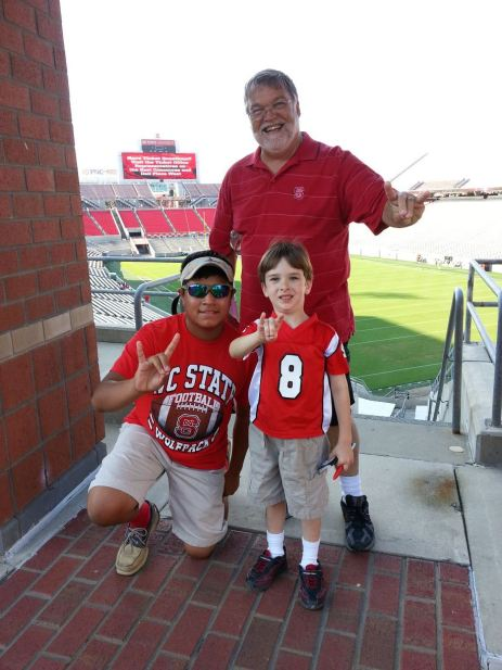 Grandaddy Max with grandsons Cris and Liam at NC State game