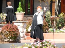 My precious sister Anne, waves as she goes in to tour the unique home while Sharon and I elect to start in the gardens.