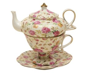 Stacked Teapots are beautiful sets designed for tea for one. Beautiful teapots set atop lovely tea cups