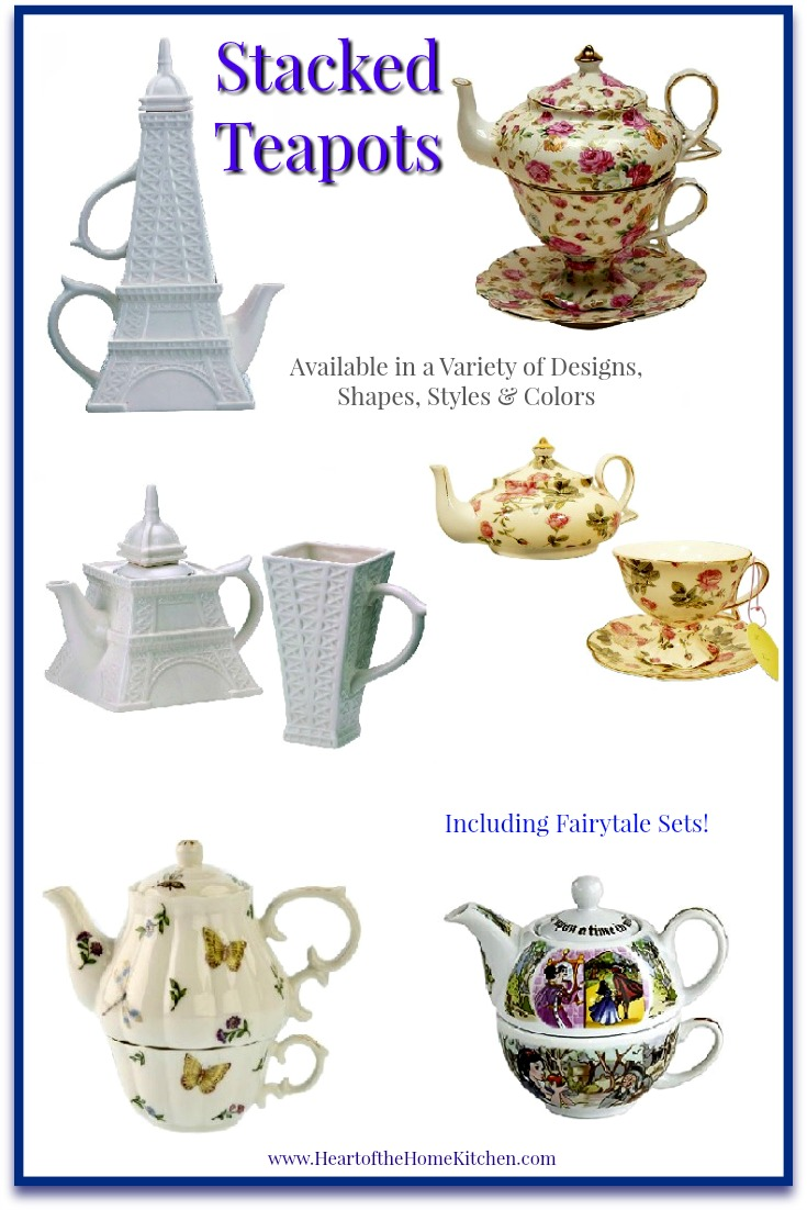 Stacked teapots & tea sets make perfect gifts for anyone who enjoys tea or collects tea sets. They are beautiful tea for one cup and teapot combinations