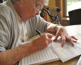 Great Grandma making notes on YUM