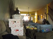 Boxes of christmas stuff