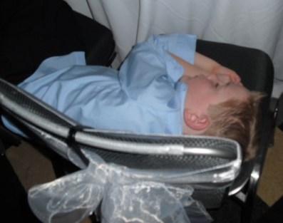 Dono sleeping at wedding-overhead