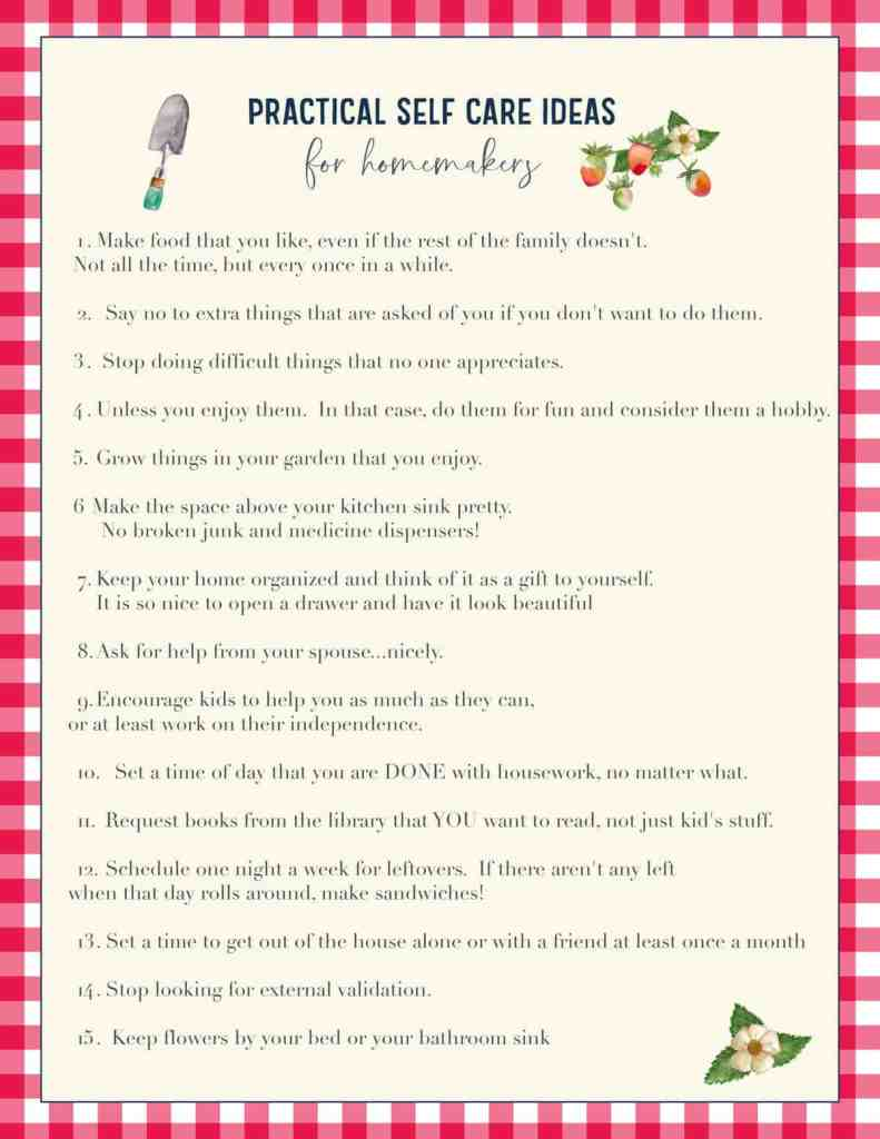 "image of ""practical self care ideas for homemakers"" printable"