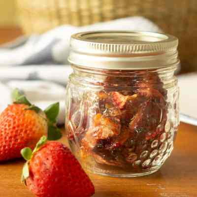 oven dried strawberries in mason jar