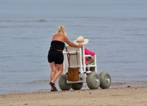 handicapped person on beach