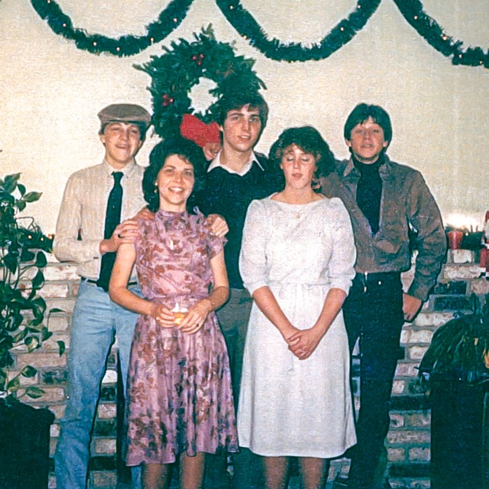 Tony, Mom, Ted, Jaelin, & Chad (left to right) family Christmas 1983