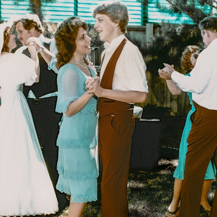 Tony dancing with Mom at Ted's wedding Sept 1984
