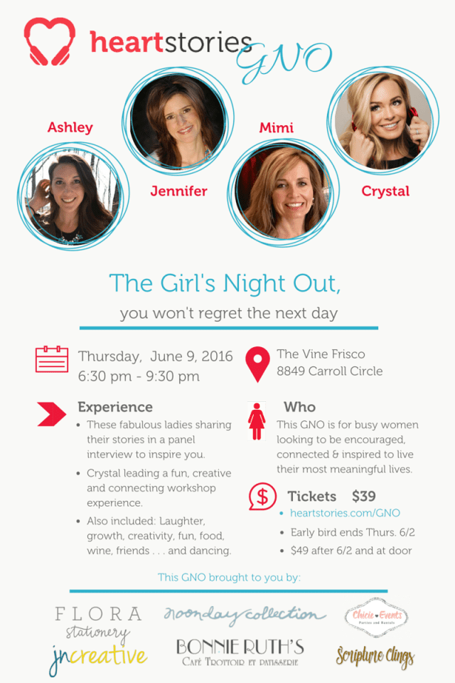 6 - 9 - 2016 HeartStories GNO The Girl's Night Out you won't regret the next day. HeartStories GNO Premier at The Vine in Frisco, TX
