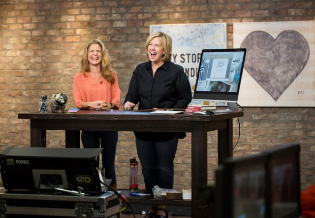 Brené Brown & Glennon Melton laughing on set of The Wisdom of Story