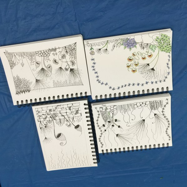 The Secret Garden of Zentangle: Botanicals I These are the wonderful gardens the students Teresa, Natalie, Lisa and Cherie drew!