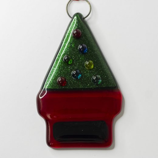 Heartwood Glass letterbox decoration with Christmas Tree topped