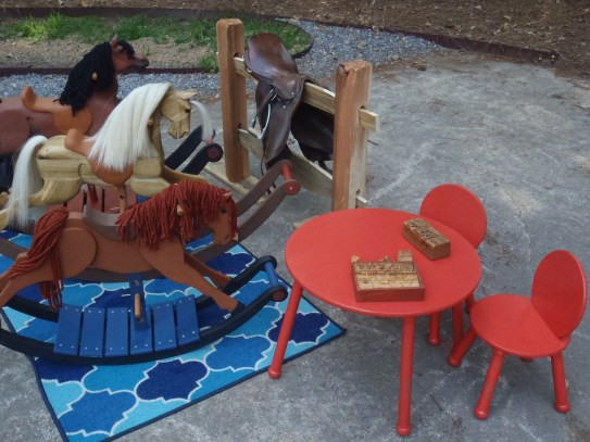 rocking horses and table