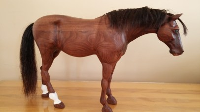 carved walnut quarter horse white sox bay right side real horse hair