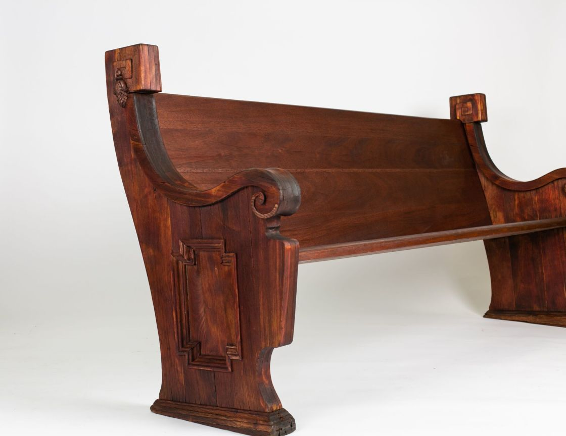 Restored Mahogany Church Pew