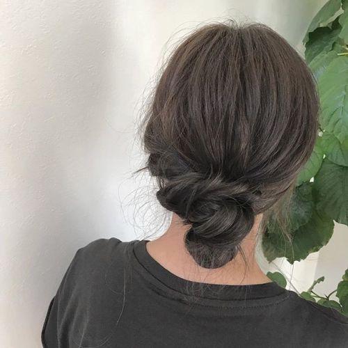 担当シオリ @shiori_tomii マットブラウンのお団子アレンジ#hearty#shiori_hair #マットブラウン#ヘアアレンジ#高崎美容室#高崎