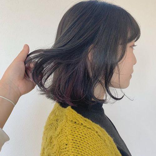 担当シオリ @shiori_tomii 暗めなグレージュにインナーにパープルを下ろせば見えないので髪色厳しい職場でもいけます♡#hearty#shiori_hair #グレージュ#アッシュベージュ#ベージュ#パープル#インナーカラー#ハイライト#高崎美容室#群馬美容室#高崎#群馬