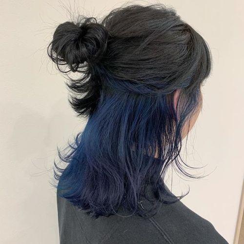 担当シオリ @shiori_tomii インナーブルーちゃん🦕🦕🦕#hearty#shiori_hair #ブルージュ #ネイビー#グレージュ#ヘアセット#ヘアアレンジ#ハーフアップ #高崎美容室#群馬美容室#高崎#群馬