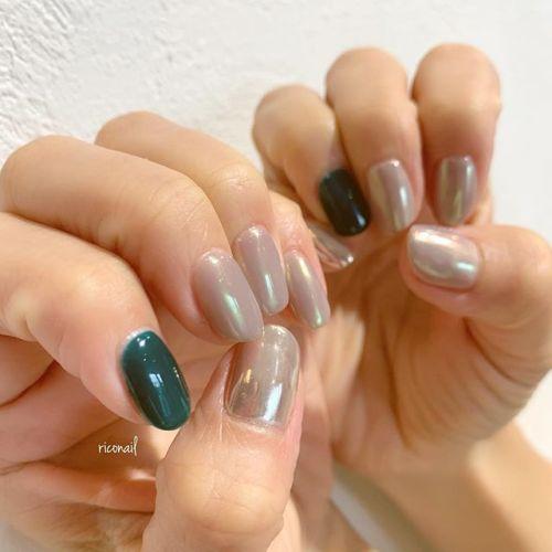 緑とオーロラとミラー✩#riconail #HEARTY #abond #nail #nails #gelnail #gelnails #nailart #instanails #nailstagram #beauty #fashion #nuancenail #ネイル #ジェルネイル #ネイルケア #ニュアンスネイル #個性派ネイル @riconail123