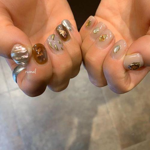 いつもおまかせありがとうございます♡̷#riconail #HEARTY #abond #nail #nails #gelnail #gelnails #nailart #nuancenail #ネイル #ジェルネイル #ネイルケア #ニュアンスネイル #個性派ネイル #アシンメトリーネイル @riconail123