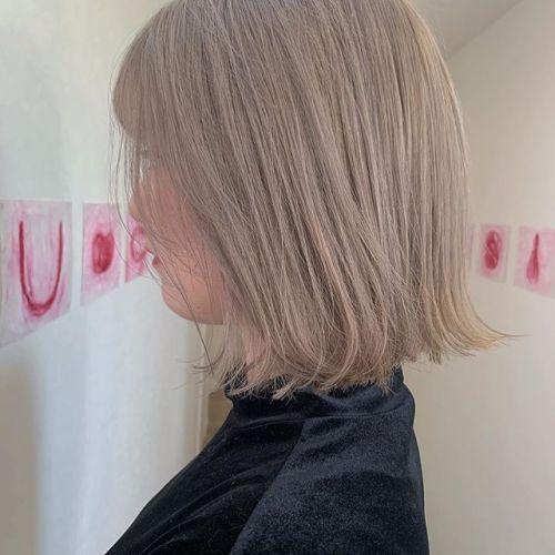担当シオリ @shiori_tomii ホワイトラベンダー#hearty#shiori_hair #ホワイトラベンダー#ホワイトベージュ #ブロンドヘアー #切りっぱなしボブ#高崎美容室#群馬美容室#高崎#群馬