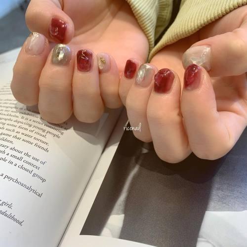 ショートネイルに凸凹がかわいい︎#riconail #HEARTY #abond #nail #nails #gelnail #gelnails #nailart #nuancenail #高崎美容室 #ネイル #ジェルネイル #ネイルケア #ニュアンスネイル #ミラーネイル @riconail123