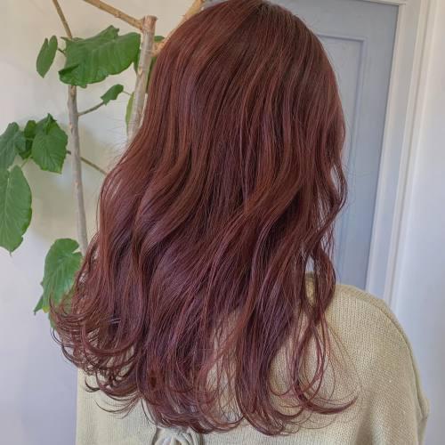 担当→コガワ @momokakogawa ブリーチなしレッドピンク#ピンクカラー#ブリーチなしカラー#レッドピンク#高崎美容室
