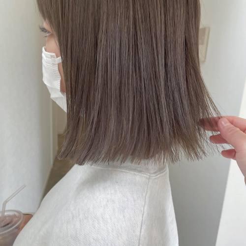 担当 シオリ @shiori_tomii まろベージュBOB♡#hearty#shiori_hair #まろベージュ#ベージュ#アッシュベージュ#グレージュ#ラベンダーベージュ#ミルクティーベージュ #ミルクティーグレージュ #高崎美容室#群馬美容室#高崎#群馬