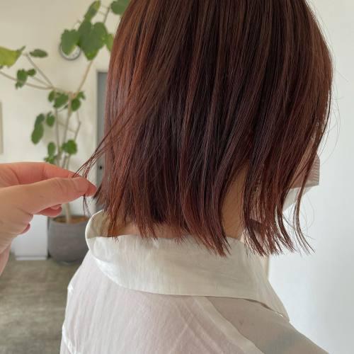 担当シオリ @shiori_tomii アプリコットオレンジ#hearty#shiori_hair #アプリコットオレンジ#アプリコットブラウン #オレンジカラー #オレンジブラウン #オレンジベージュ #切りっぱなしボブ#高崎美容室#群馬美容室#高崎#群馬