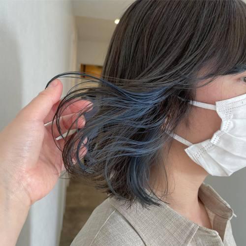 担当シオリ @shiori_tomii インナーカラー#hearty#shiori_hair #グレージュ#ブルー#ブルーカラー #ネイビーブルー #ネイビーカラー #ブルージュ#インナーカラー#ハイライト#高崎美容室#群馬美容室#高崎#群馬