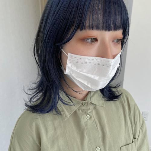 担当シオリ @shiori_tomii ネイビーブルーのウルフcut️#hearty#shiori_hair #ウルフ#ウルフカット #ネイビーブルー#ネイビーカラー #ブルージュ#ブルーカラー #高崎美容室#群馬美容室#高崎#群馬