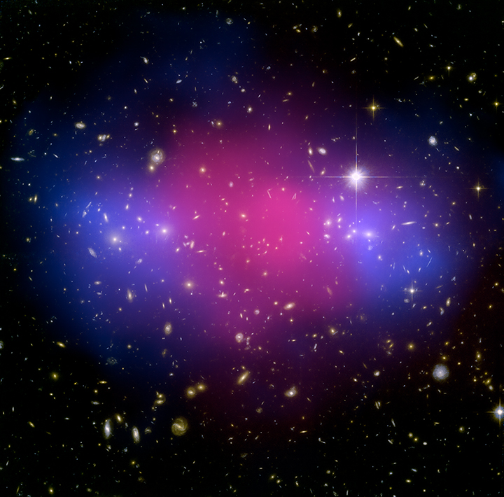 Hubble and Chandra Image of colliding cluster