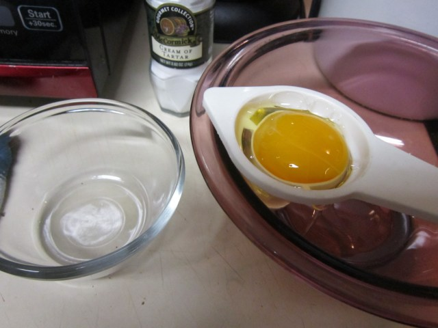 Yolks and whites need to be completely separated.
