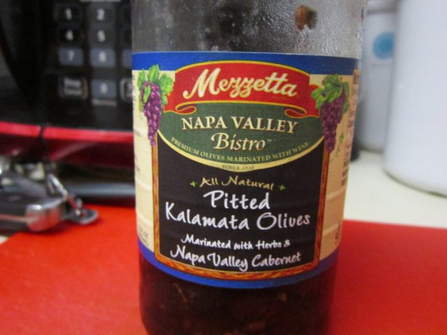 Kalamata olives. Watch out for pits, some have them.