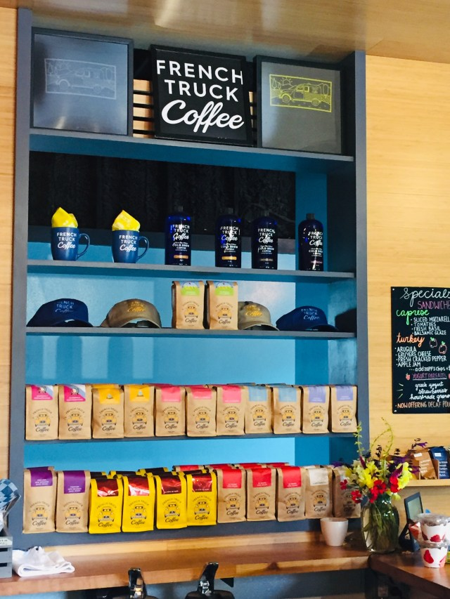 Wall of French Truck Coffee on shelves