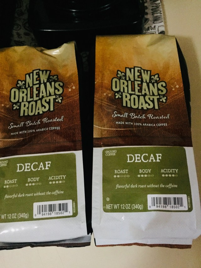 Two bags of DEcaf New Orleans Roast